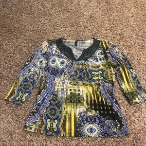 Lace Detailed 3/4 Sleeve Saint Lawrence Top